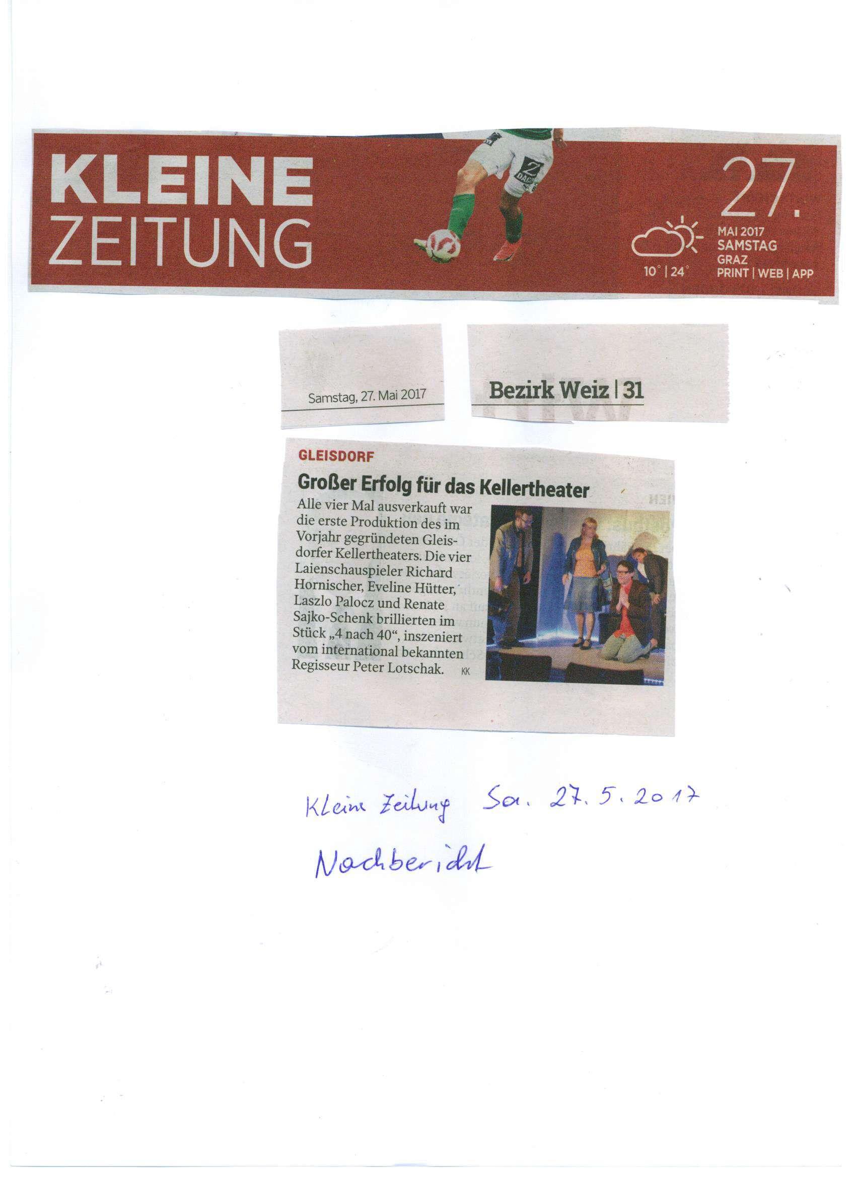 Kleine Zeitung Nachbericht am 27.05.2017